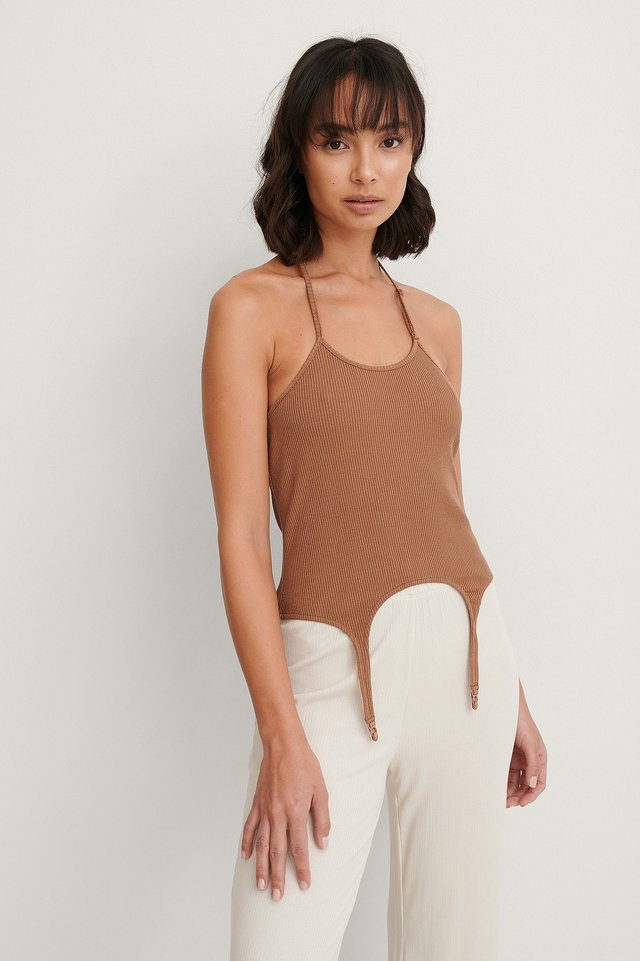 Brown Rack Singlet Med Halterneck