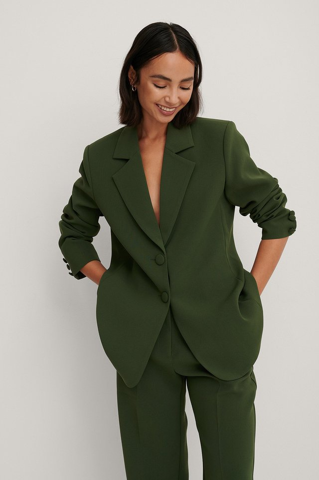 Dark Green Marked Shoulders Blazer
