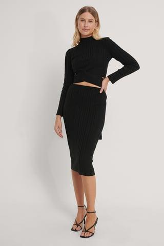 Black Detailed Top-Skirt Knit Set