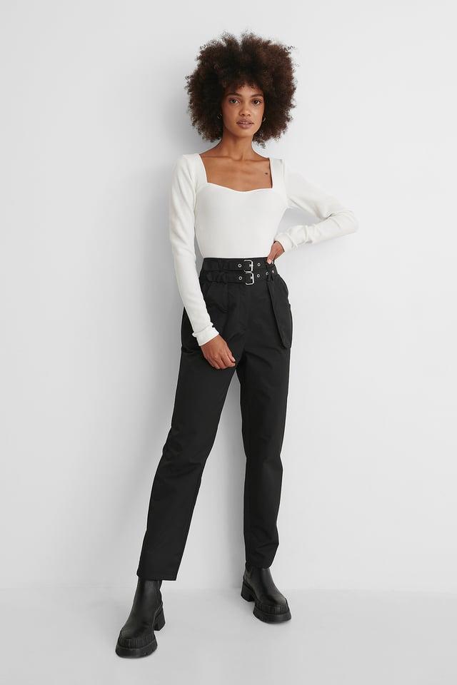 Black Løse Bukser Med Bælte