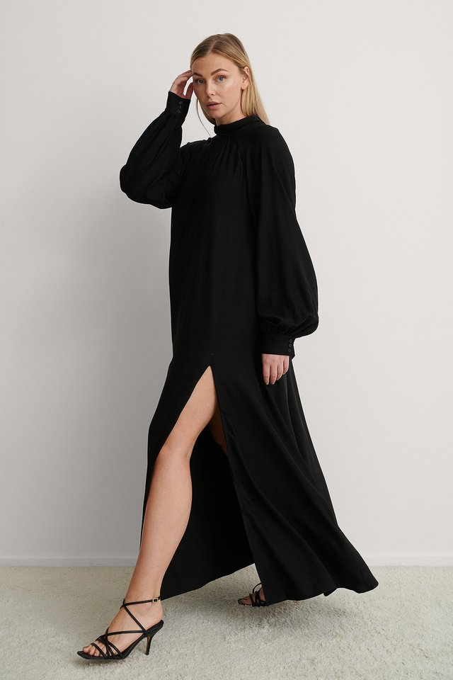 Black High Slit Maxi Dress