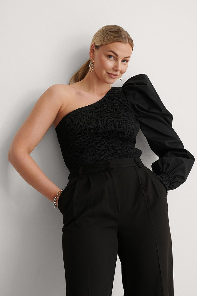 Black One Shoulder Puffy Sleeve Smocked Top