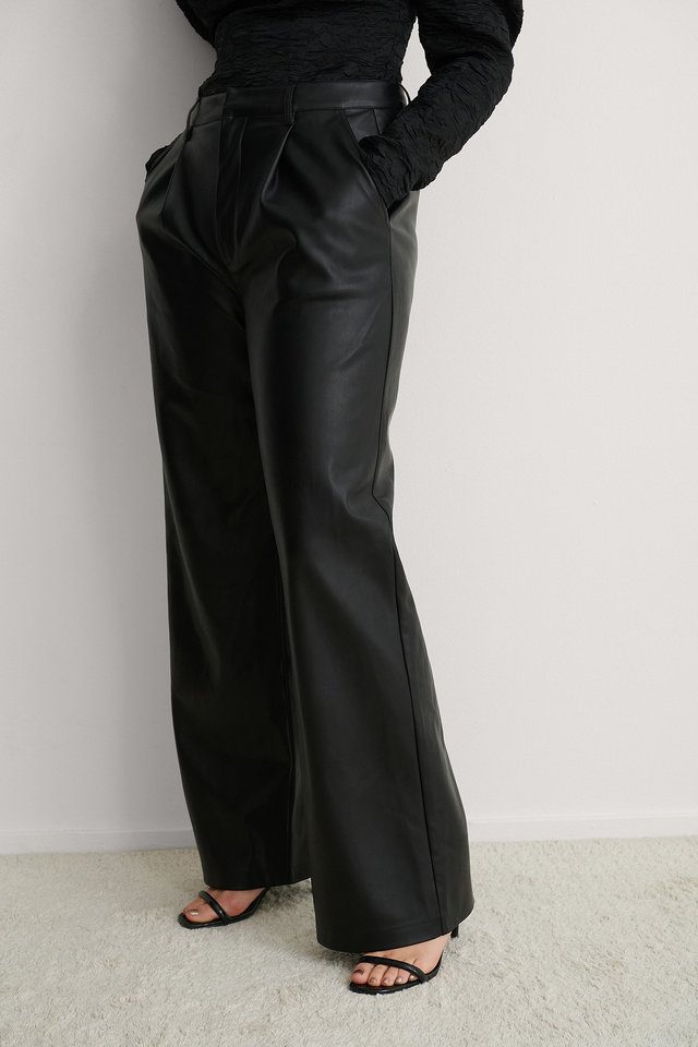 Black Pleat Detail PU Pants