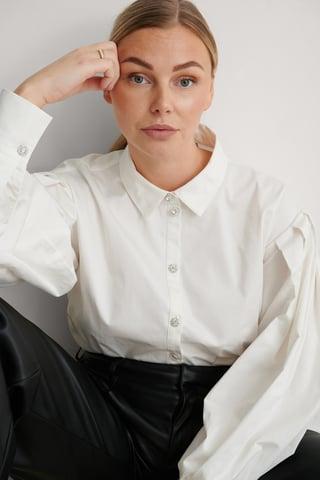 White Pleated Sleeve Shirt