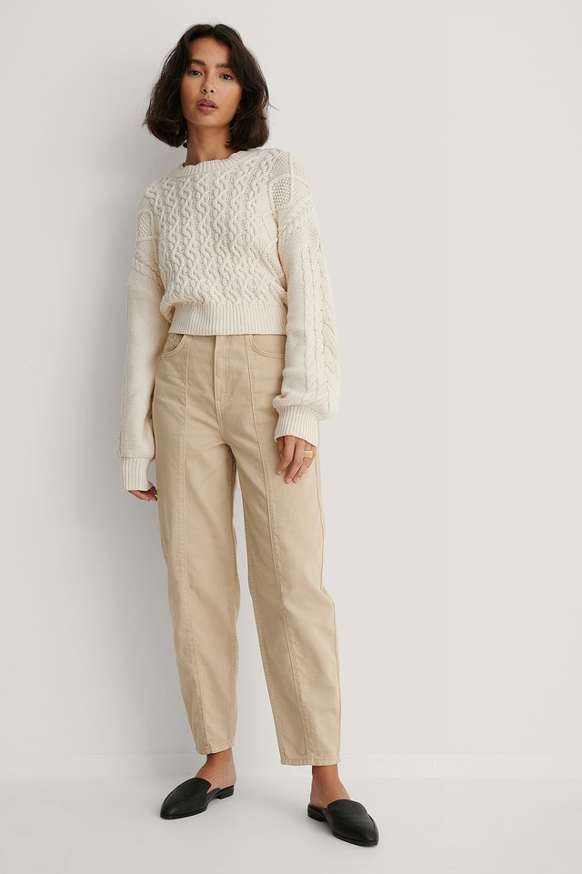 Beige Wide Cocoon Jeans