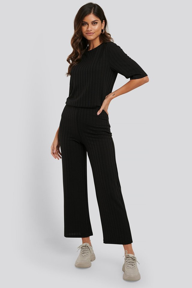 Black Wide Rib Loose Fit Pants