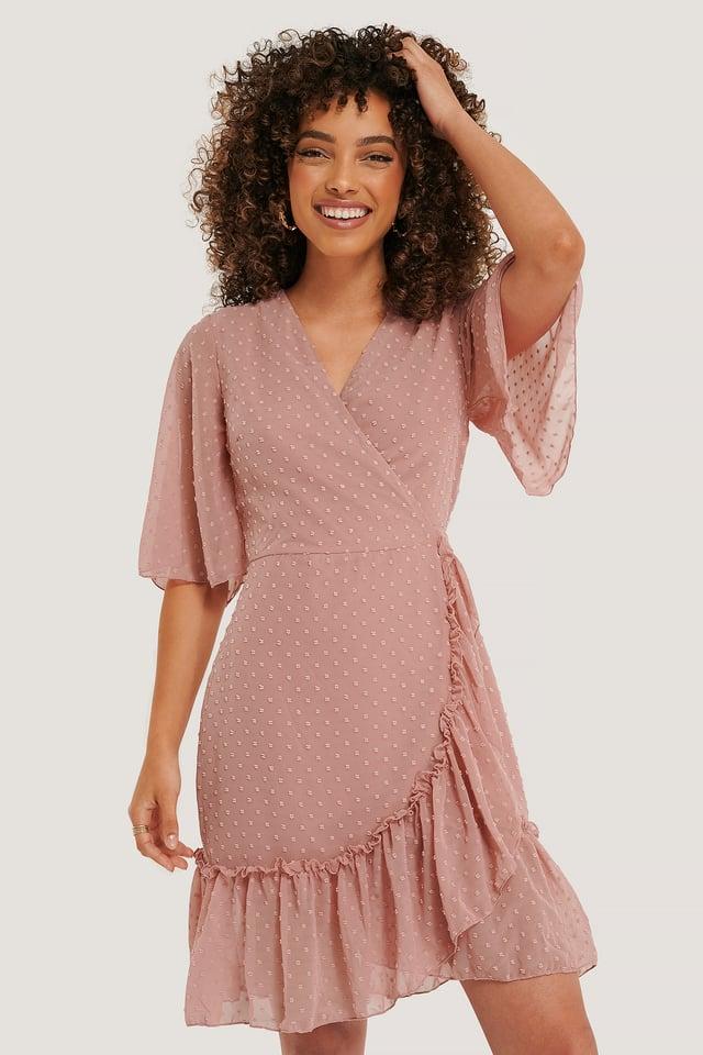 Wrap Dot Mini Dress Dusty Rose