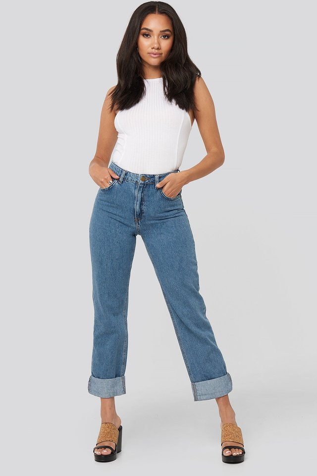 Alex Fold Up Jeans Light Blue Wash