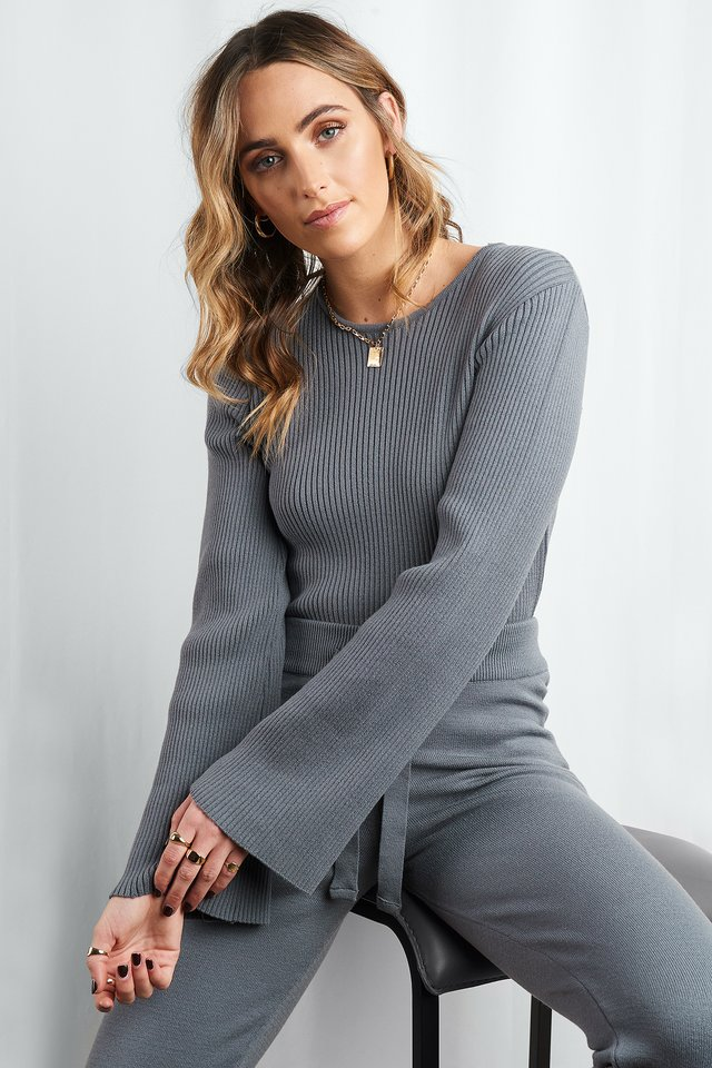 Grey Cam Rib Knitted Top