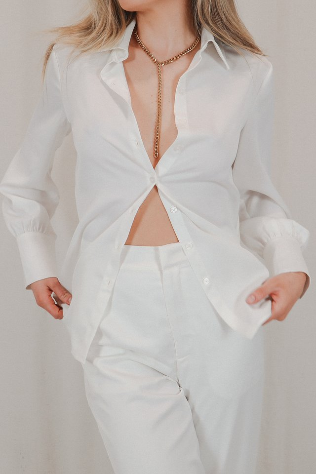 Jessie Satin Shirt White
