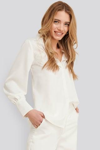 White Satinskjorta