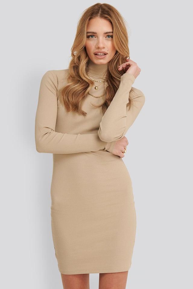 Kendall Ribbed Dress Light Beige
