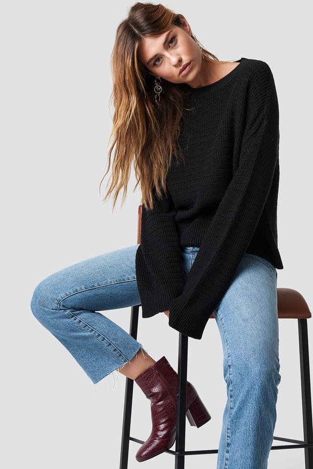 Black Luźny Sweter
