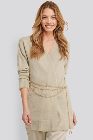 Light Beige Lia One Pocket Knitted Cardigan