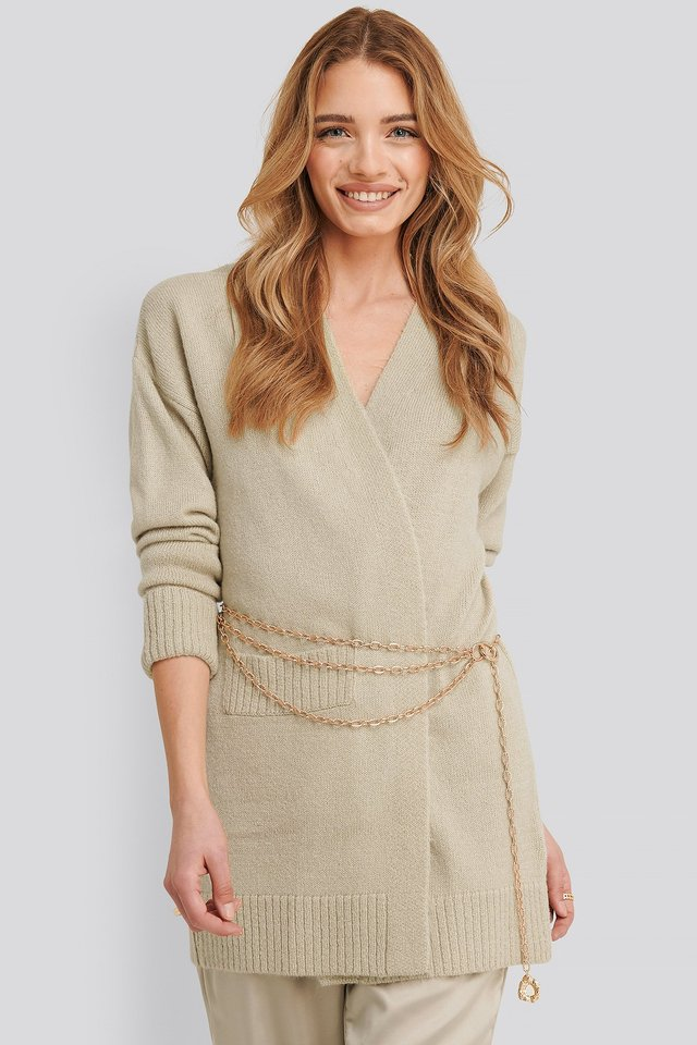 Lia One Pocket Knitted Cardigan Light Beige