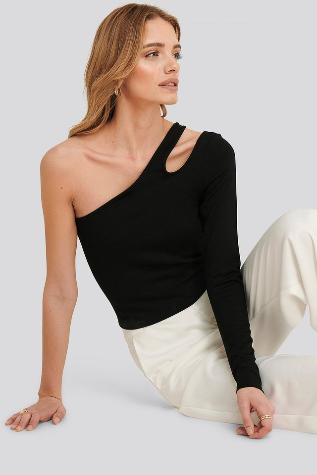 Lucy one shoulder bodycon top Black