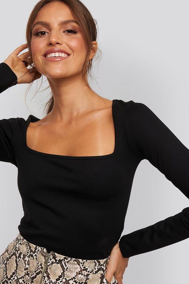 Megan Square Neck Top Black