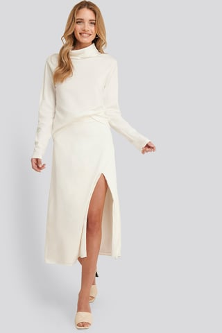 White Olivia Slit Midi Skirt
