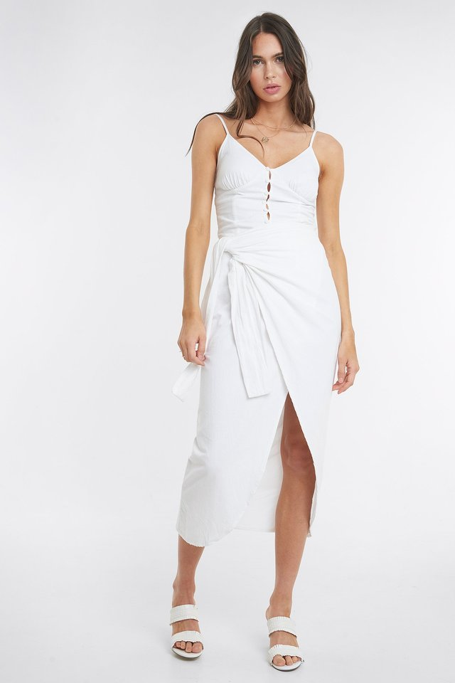 Paula Linen Look Skirt White