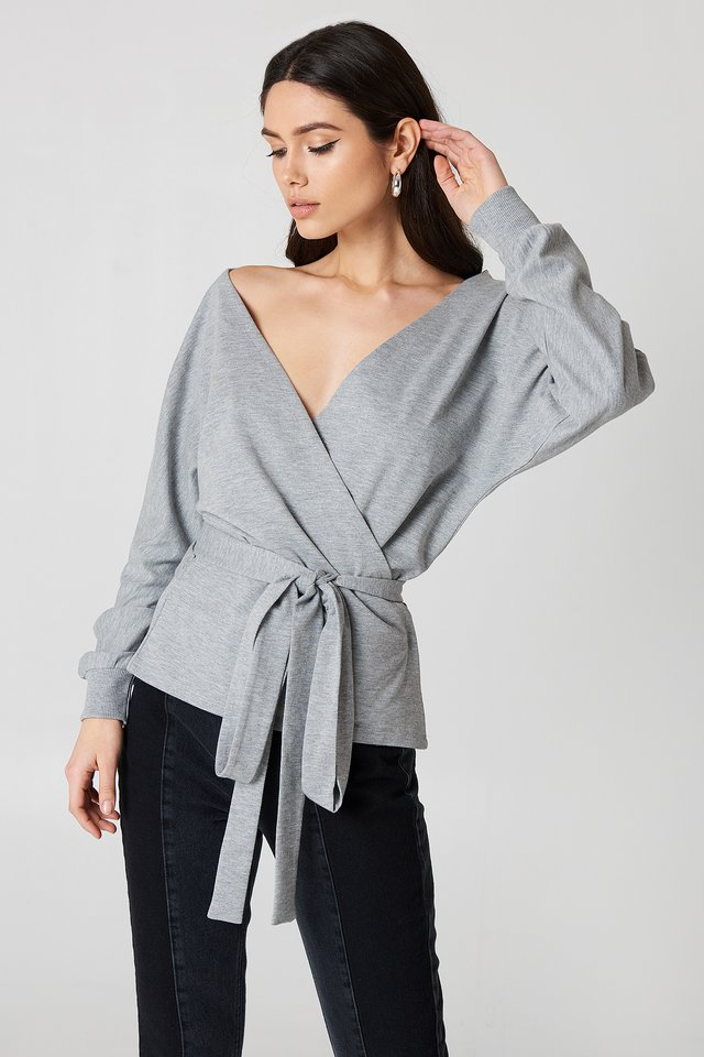 Tied Front Deep Neck Sweater Grey